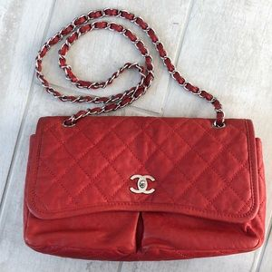 CHANEL Red Flap Bag with Classic Chain